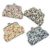 mciskin 4 pezzi mini Floreale portamonete portafoglio da donna borsa portamonete piccolo carino borsa portaoggetti per chiavi, auricolare, rossetto 3.5' L X 2.8' H
