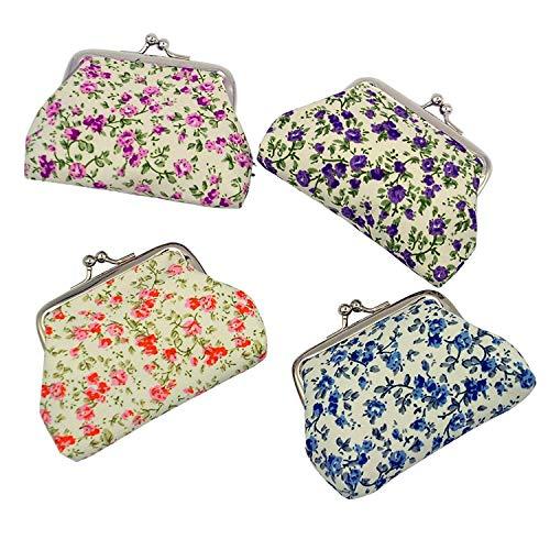 """mciskin 4 Piezas Monedero de Floral con Cierre de Bolsa de Cambio de Kisslock Monedero pequeño de Monedas para Mujeres niñas 3.5"""" L X 2.8"""" H"""