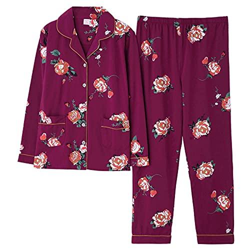 YLGAN Pijamas para Mujer, Otoño Invierno Conjunto de Pijamas para Mujer Conjunto de Pijamas de algodón con Estampado de Flores Cuello Vuelto Pantalones de Manga Larga Ropa para el hogar cálida y a
