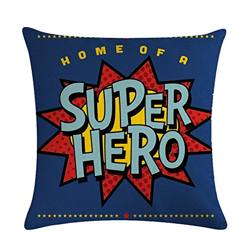Easternproject Super Hero Quote Throw Pillow Case Cushion Cover Exclamation Pattern Decorative Square 18x18 Inch Pillowcase Best Gift (Super Hero-Blue)