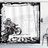 Cortina de ducha de motocicleta, imagen de corredor de motocross Fondo sucio Estilo de póster Impresión de ilustraciones monocromáticas, Juego de decoración de baño de tela de tela con ganchos, Blanco