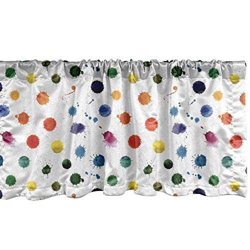 """Lunarable Paint Window Valance, Circle Color Splashes Forming Colorful Polka Dots Modern Abstract Kids Baby Playroom, Curtain Valance for Kitchen Bedroom Decor with Rod Pocket, 54"""" X 12"""", White Orange"""