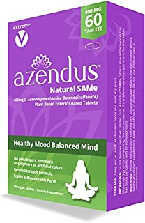 Azendus SAM-e Mood Support 400mg, 60 Count, Same Butanedisulfonate Fiber Enteric Coated Tablets, Physician ...