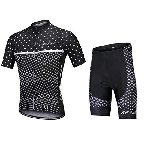 CHOUE Uomo Manica Corta Traspirante Ciclismo Maglia e 3D Imbottito Pantaloni Sport All'Aperto Traspirante Asciugatura Rapida per Ciclismo Bicicletta Abbigliamento Sportivo, XXL