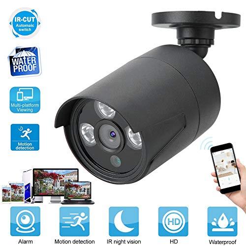 Yisentno Cámara, cámara de Seguridad 1080P, Alarma Inteligente Impermeable IP66 para Interior y Exterior(Black, European regulations)