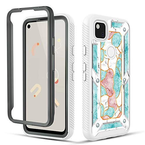 TGOOD Google Pixel 4a Case,Full Body Shockproof Rugged marbling Anti-Scratch Heavy Duty Protection Slim Case