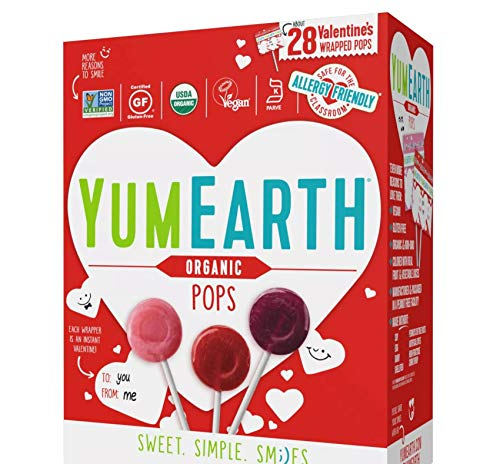 Yum Earth Organic Lollipop Suckers  About 28 Allergy Friendly Valentine Exchange Wrapped Pops Net Wt 611 Oz