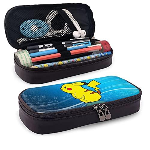 Caja de lápices de piel de Pokemon para lápices, papelería, oficina, portátil, caja de almacenamiento de cosméticos