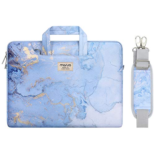 MOSISO Laptop Shoulder Bag Compatible with 2019 MacBook Pro 16 inch A2141, 15 15.4 15.6 inch Dell Lenovo HP Asus Acer Samsung Chromebook, Watercolor Marble Briefcase Sleeve with Trolley Belt, Blue