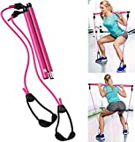 Pilates Equipment Pilates Bar Resistance Band Legs and Butt Workout Equipment for Women Workout Equipment for Home Workouts Pilates Bar Kit w/ Elastic Bands for Exercise Leg Press Core Trainer