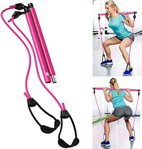 Pilates Bar w/ Resistance Bands - Pilate Bar Kit w/ Resistance Bands and Resistance Band Bar for Leg and Butt Toning, Workout Bar Workout Equipment for Women (Pink)