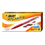 BIC Atlantis Original Retractable Ball Pen, Medium Point (1.0 mm), Red, 12-Count - VCG11-RED