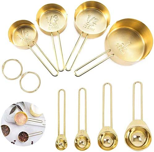 popular 8PCS Copper Plated high quality Stainless Steel Measuring Cups and wholesale Spoons Set, Mirror Polished Design, Baking Cooking Utensils with Measurement for Dry and Liquid Ingredients Golden online sale