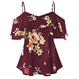 iTLOTL Women Floral Printing Off Shoulder Shirt Sleeveless Vest Tank Tops Blouse(US:8/CN:M, Wine Red)