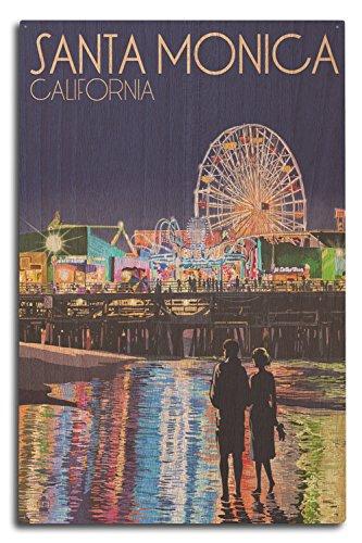 Lantern Press Santa Monica, California - Pier at Night (10x15 Wood Wall Sign, Wall Decor Ready to Hang)