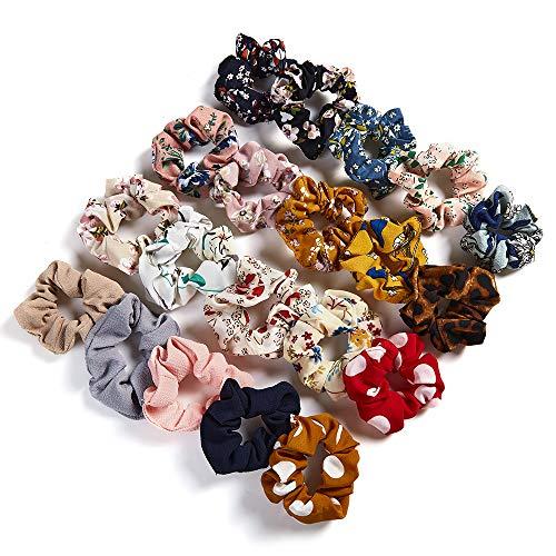 20 piezas de gasa para el pelo de la flor en forma de corazón elástico suave de pelo coleta titular diademas cuerdas anillo para mujeres niñas accesorios de pelo