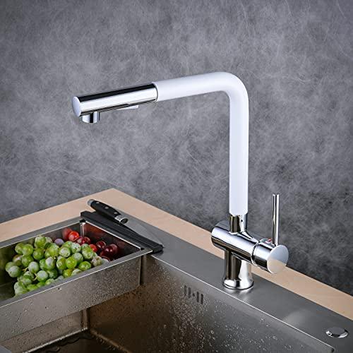 2 funciones Grifo de cocina extraíble 360° Giratorio Grifo de Fregadero Monomando de Fregadero Grifería cocina Agua Fría y Caliente,Blanco