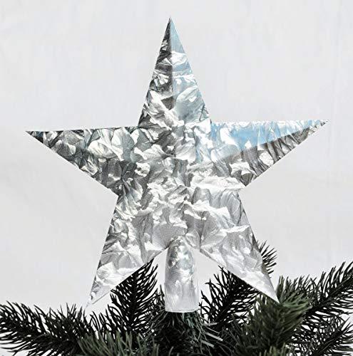 Pointe D'Arbre de Noël Étoile Noble Peinture de Crème Glacée Optique 21 X 20 cm Argent Sapin de Noël Pointe