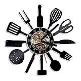 FDGFDG Cocina Personalizada Disco de Vinilo Reloj de Pared Cuchillo Tenedor Cuchara Tablee Reloj de Pared Reloj de Pared Cubiertos Arte de Pared