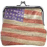 Cartera Retro Bandera Americana Grunge Textura de Madera Monedero Bolsas Cartera de Cambio de Cuero Tarjeta Embrague Bolso