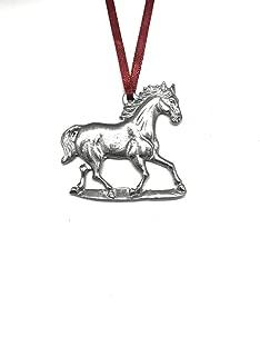 801 Horse Stallion Mustang Equestrian Keepsake Holiday Christmas Ornament Pewter