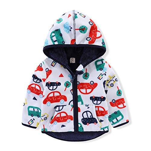 Toddler Polar Fleece Jacket Hooded Coat Zipper Autumn Winter Long Sleeve Thick Warm Outerwear for Baby Girls Boys Kids Hoodie Cardigan Sweater with Pockets Casual Clothes White Car 3T
