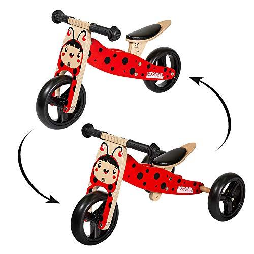 WOOMAX- Bici sin pedales triciclo en madera modelo Mariquita