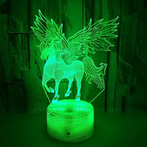 FREEZG lampara quitamiedos infantil Unicornio alas niño LED lámpara guardería de bebé para habitación de niños decoración del hogar regalos de cumpleaños de Navidad con 7 colores que cambian