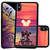 DISNEY COLLECTION Mickey and Minnie Sunset Design for Apple iPhone Xs Max 6.5-inch Case Soft TPU and PC Tired Case Retro Stylish Classic Cover