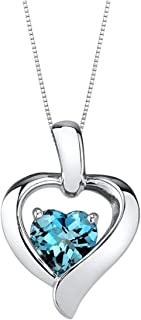 Heart Pendant 925 sterling silver heart necklace various colored stones,London Blue Topaz