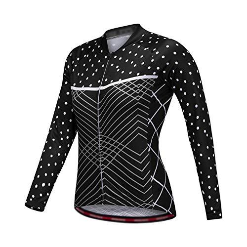 Yuefensu Camisa De Ciclismo De Montaña De Punto Lunares Blanco For Mujer...