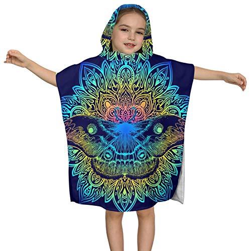 Hooded Bath Towels For Kids Girls Boys Beautiful Mandala Moth Vintage Tattoo Indigo Microfiber Soft Bathroom Towel Wrap Baby Toddler Beach Pool Swim Bathing Towels Absorbent Bathrobes Cover Up Cape