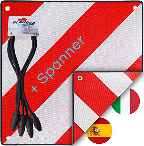 Warntafel Italien und Spanien (Schild + Gepäckspanner) 2in1 (50 x 50 cm) - Reflektierendes Warnschild rot weiß für Heckträger u Fahrradträger