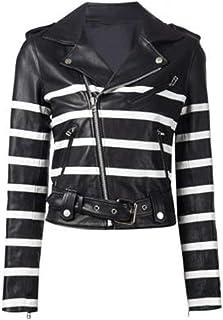 OxMason - Black & White Striped Biker Leather Jacket - Women