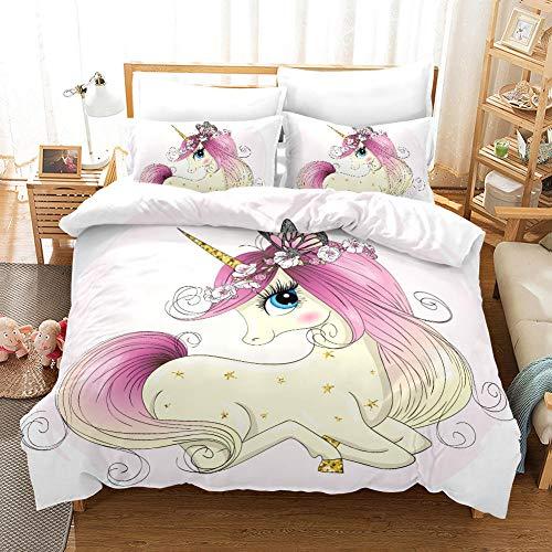Juego de Ropa de Cama 3 Piezas Unicornio de Dibujos Animados Tres Piezas Home Bed Set Print Es Y Liviana Funda de Almohada de poliéster Ultra Suave Fundas 200cm x 200cm