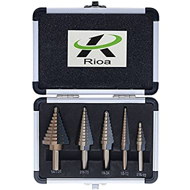 Titanium HSS Step Drill Bits Set with 1/4-Inch and 3/8-Inch Shanks By Centh, SAE, 5-Piece with Aluminum Protective Case