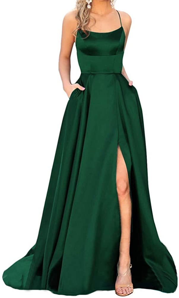 YMSHA Women's Prom Dresses Long 2021 Satin Aline Slit Spaghetti Formal Evening Gowns with Pockets PM10