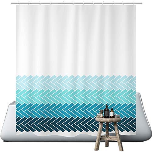 wiipara Verlaufsfarbe Duschvorhang, Wasserfeste Bad Vorhang aus Polyestergewebe Waschbar Badewanne Vorhang Duschvorhang Textil mit 12 Duschvorhangringe fürs Badezimmer (180 x 200 cm)