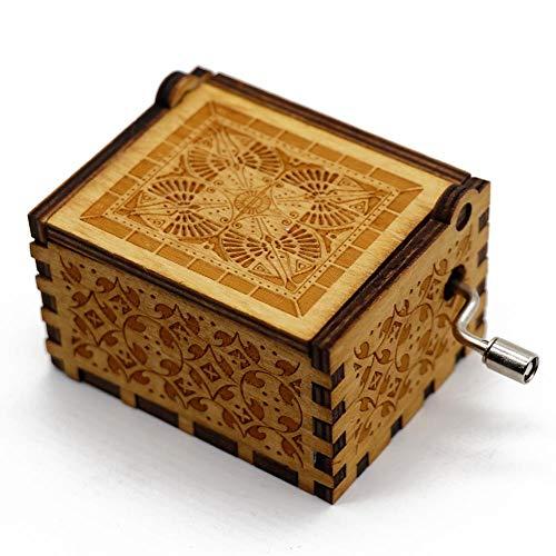 HuWei Spieluhr, niedliche Holz-Gravur, Handkurbel, Spieluhr, Geschenk für Weihnachten, Geburtstag, Valentinstag, For Elise