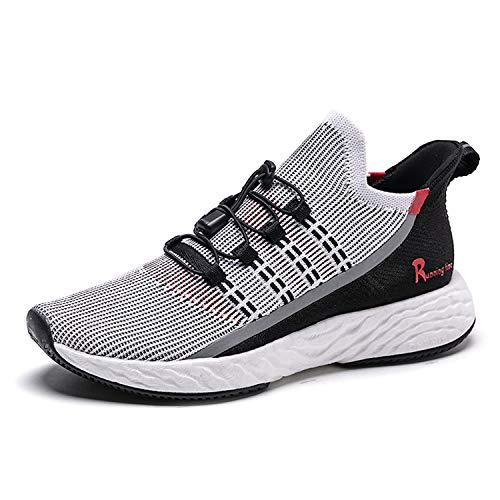 ONEMIX Zapatillas Running Hombre Zapatos Deporte para Correr Trail Fitness Sneakers Ligero Transpirable 1566 Gray Red 45