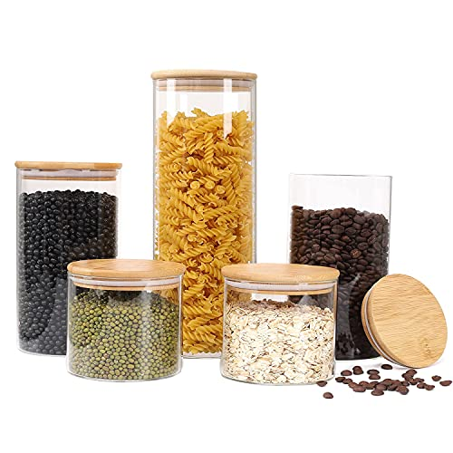 Glass Storage Jars [Set of 5] ,Clear Glass Food Storage Containers with Airtight Bamboo Lid Stackable Kitchen Canisters for Candy,Cookie,Rice,Sugar,Flour,Pasta,Nuts and Spice Jars