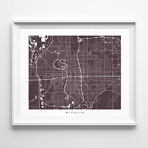 Amazon Com Wichita Kansas Street Road Map Home Decor Poster Urban City Hometown Wall Art Print 70 Color Options Unframed Handmade