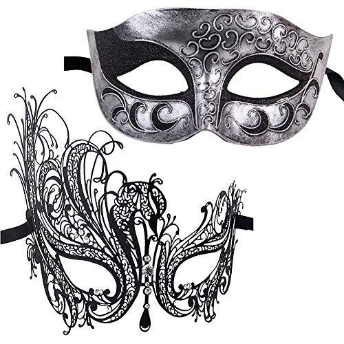 Xvevina Masquerade Mask for Couples Fashion Gifts Costume Accessory (Swan Couple)