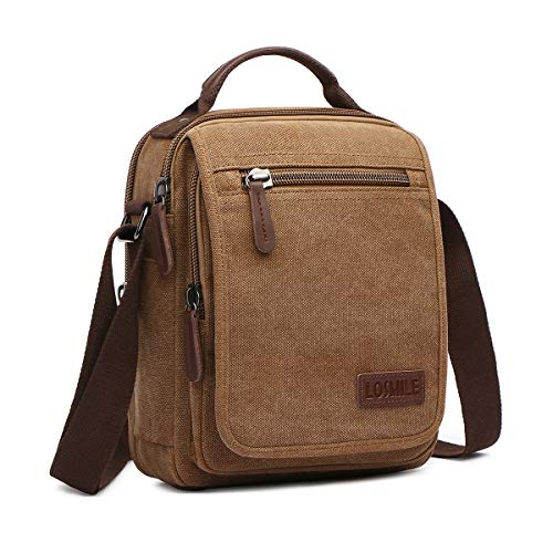 Men's Shoulder Bag, LOSMILE Messenger Bag Canvas Small Crossbody Bags Multi Pockets Casual Sling Bag Lightweight iPad mini Bag for Work, School, Sport, Travel (Coffee)