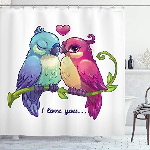 ABAKUHAUS Papagei Duschvorhang, Zweig mit Herz, Wasser Blickdicht inkl.12 Ringe Langhaltig Bakterie & Schimmel Resistent, 175 x 180 cm, Magenta Rosa