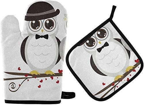 MODORSAN Niedliche Eulen Ofenhandschuhe und Topflappen-Sets 2 Stück Valentine Küche hitzebeständig mit rutschfesten Grillhandschuhen aus Polyester für Küche,Kochen,Backen,Grillen