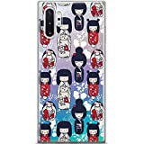 Mertak Clear Phone Case for Samsung Galaxy Note 10 Plus 5G S10e S9 S8 S7 Protective Gift Women Cover Slim Silicone TPU Kokeshi Dolls Traditional Print Lightweight Design Flexible Cute Japanese Girls