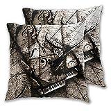 VINISATH Set de 2 Funda de Cojín 45x45cm Piano Grand Steinway Música Resumen Música Surrealista Notas Gary Bodnar Beethoven Chopin Bach Fundas de Almohada para Sofá Cama Coche Hogar