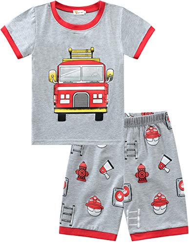 Little Hand - Pijama de Dos Piezas para niños, diseño de Dinosaurios y Excavadora, algodón Corto, 92 98 104 110 116 122 Coche de Bomberos 116 cm (Talla de Fabricante : 130)