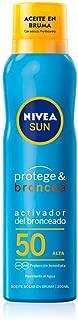 NIVEA SUN Protege & Broncea Aceite en Bruma FP50 (1 x 200 ml), aceite solar activador del bronceado con protección solar alta, bruma solar resistente al agua